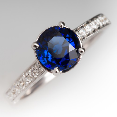 Simon G Dark Rich Blue Sapphire & Diamond Ring 18K