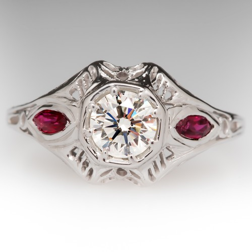 Vintage Filigree Diamond Ring w/ Ruby Accents 18K