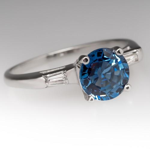 Vintage 1.5 Carat Blue Sapphire Ring 14K w/Baguette Diamonds