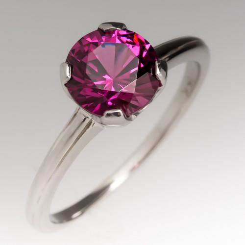 1.71 Carat Natural Garnet Solitaire Ring 14K