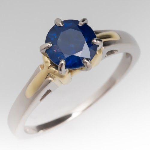 1.5 Carat Untreated Blue Sapphire 6-Prong Solitaire Ring
