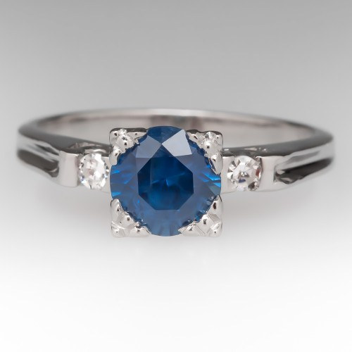Vintage 1 Carat Rich Blue Untreated Montana Sapphire Platinum Ring