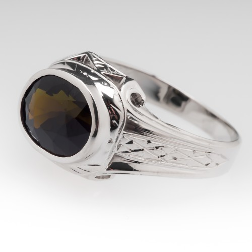 Mens Dark Greenish Brown Tourmaline 20K White Gold Ring