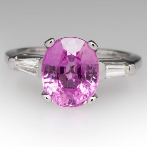 Vintage 2.7 Carat Oval Pink Sapphire Platinum & Diamond Ring