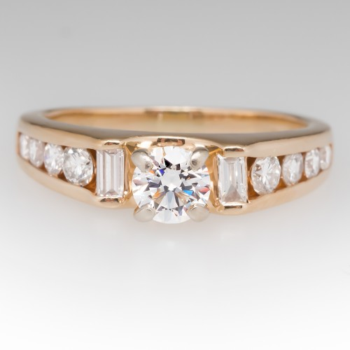 Ladies 14K Yellow Gold Diamond Ring Channel Set Accents