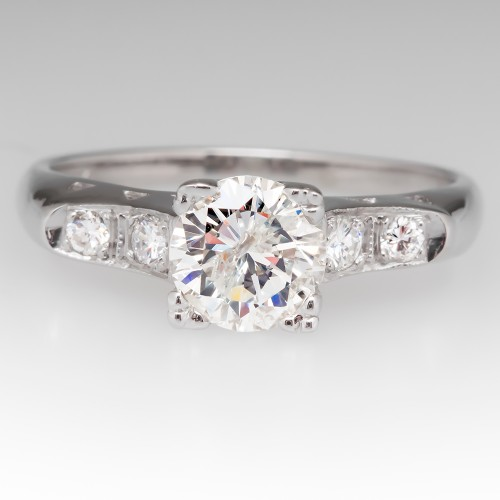 1950's Vintage Diamond Engagement Ring 14K White Gold