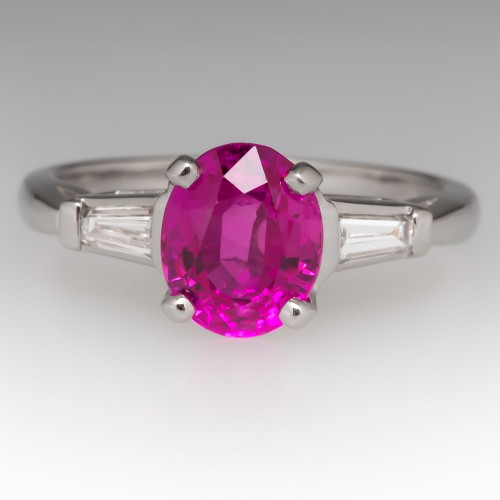2.13 Carat Pink Sapphire & Baguette Cut Diamond Platinum Ring
