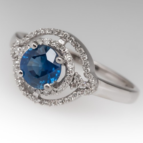 Round Blue Sapphire Ring w/Diamonds 14K White Gold