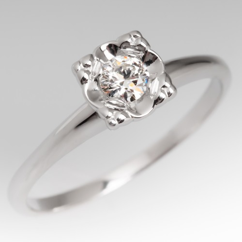 Vintage Illusion Set Round Brilliant Diamond Solitaire Ring 14K