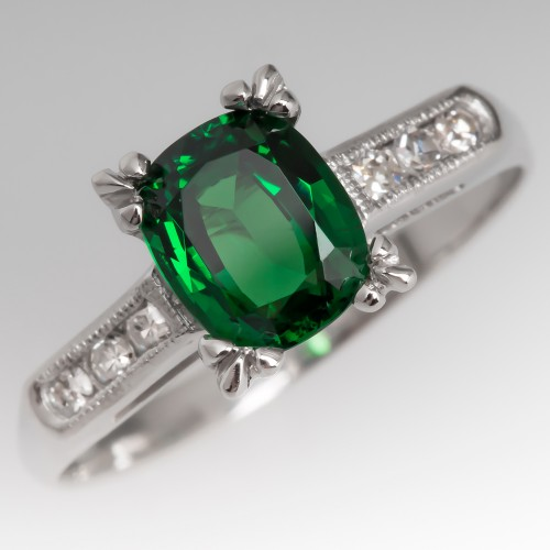 Cushion Cut Tsavorite Garnet & Diamond Vintage Platinum Ring