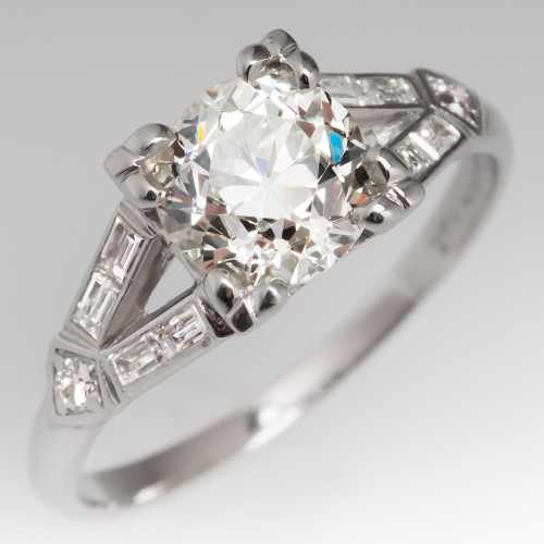 1 Carat Old Euro Diamond Low Profile Platinum Engagement Ring