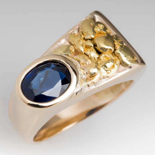 Vintage Mens Ring Blue Sapphire Nugget Motif 14K Gold