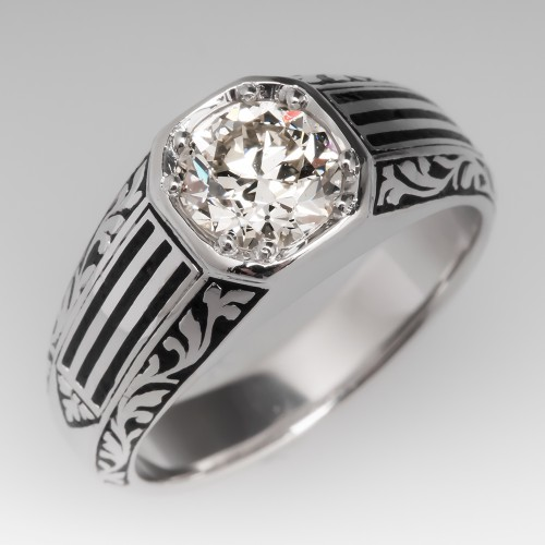 Vintage Mens Old Euro Diamond & Black Enamel Ring