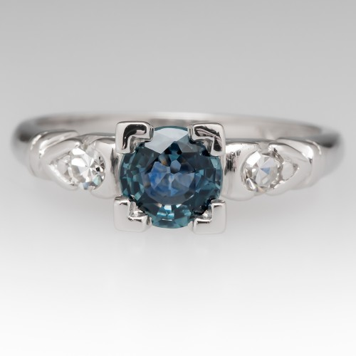 Green-Blue Montana Sapphire & Diamond Vintage Platinum Ring