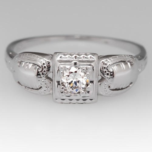 1930's Old European Cut Diamond Engraved & Detailed 18K Ring
