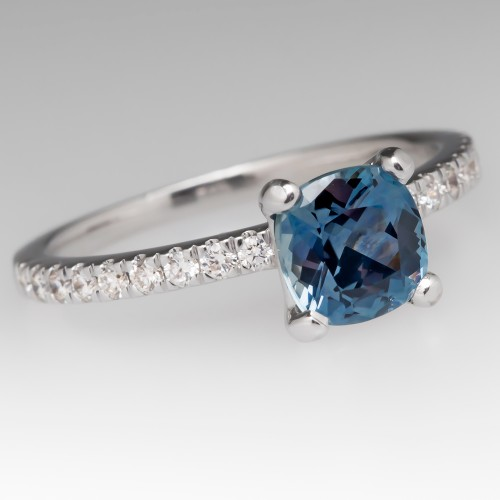 Cushion Cut Montana Sapphire & Diamond 18K White Gold Ring