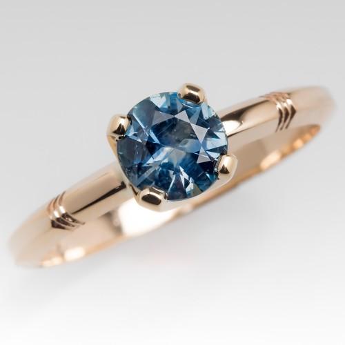 .79 Carat Monatana Sapphire Solitaire Ring 14K Yellow Gold