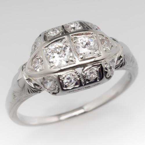 Old Diamond Ring Filigree & Milgrain Details 18K White Gold