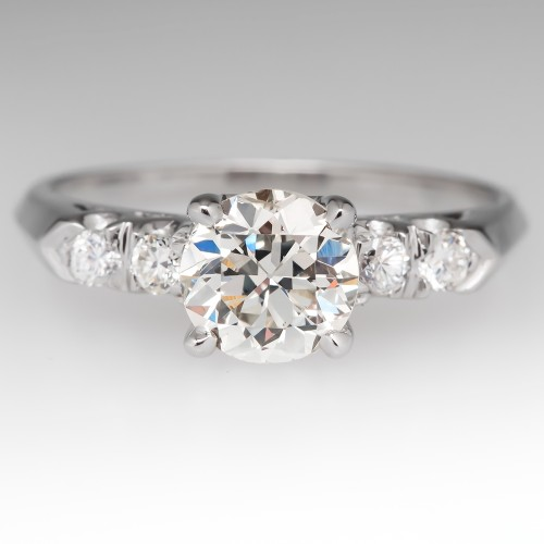 .90 Carat Old Euro Diamond Vintage Engagement Ring 14K