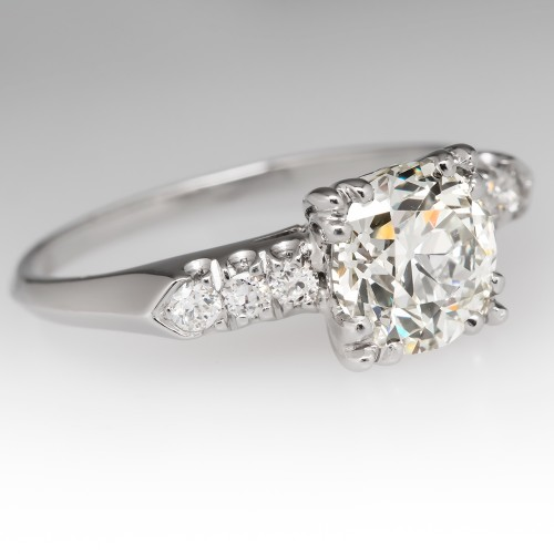 1930's Old Euro Diamond Antique Engagement Ring Platinum
