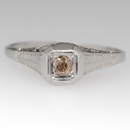 Light Champagne Old Mine Cut Diamond Engagement Ring 18K