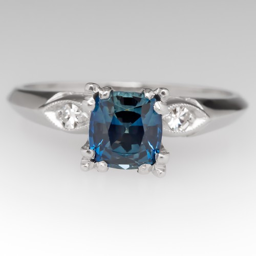 Cushion Cut No Heat Blue Green Sapphire & Diamond Platinum Ring