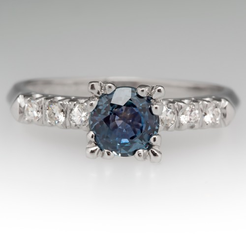 Green-Blue Icy Montana Sapphire & Diamond Engagement Ring