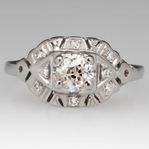 18K White Gold Engagement Ring 1930's Old Euro Diamond
