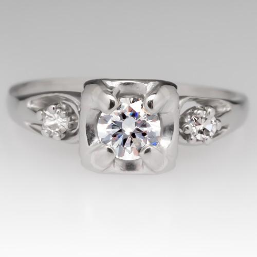 Retro 1950's Round Brilliant .28 Carat Diamond Engagement Ring