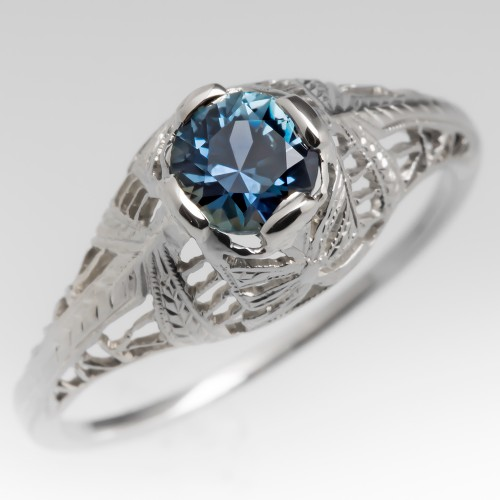 18K White Gold Filigree Engagement Ring Montana Sapphire