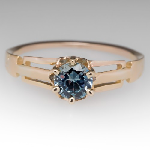 Amanda D Facebook Giveaway Ring - Green-Blue Montana Sapphire Set in 14K Victorian Solitaire Mounting
