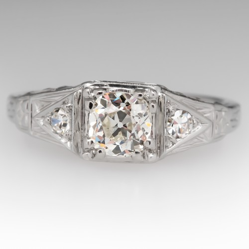 Heirloom Old Mine Cut Diamond Filigree Vintage Engagement Ring