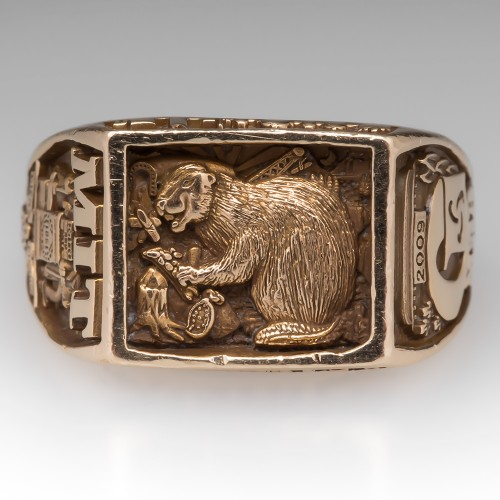 MIT Mens Class Ring 2009 14K Yellow Gold