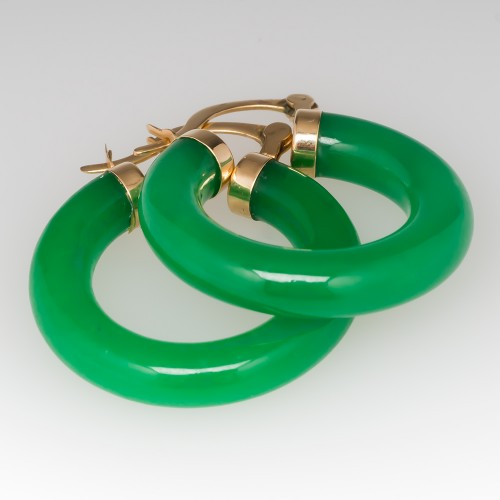 Green Dyed Agate Hoop Earrings 14K Yellow Gold