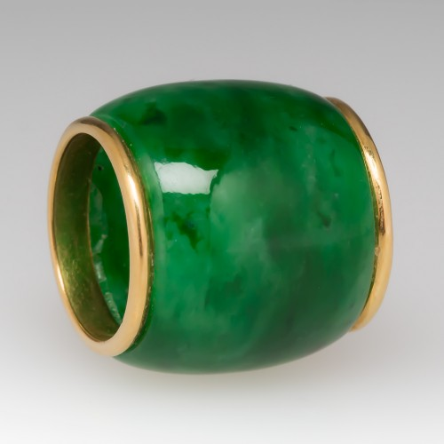 18K Yellow Gold Capped Jade Rondelle