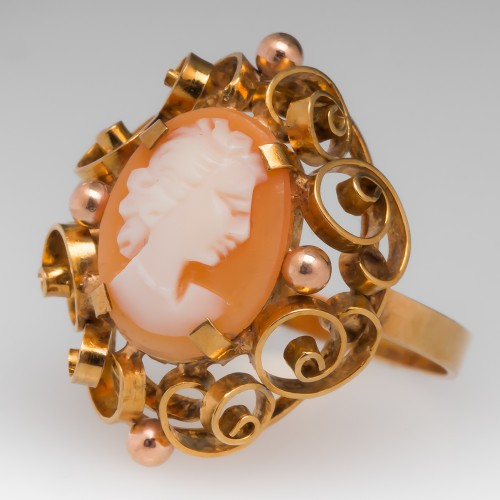 Vintage Openwork Shell Cameo Ring 14K Yellow Gold