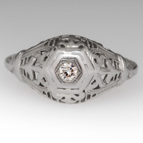 1940's Old Euro Diamond Filigree 18K White Gold Engagement Ring