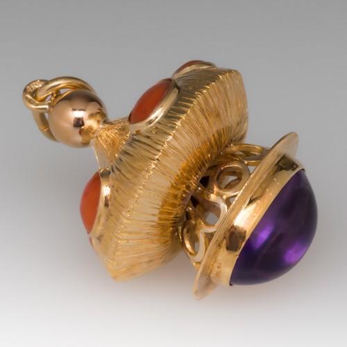 Vintage Bracelet Charm Pendant 18K Gold Coral & Amethyst