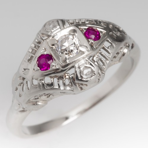 Filigree 1940's Diamond & Ruby Engagement Ring