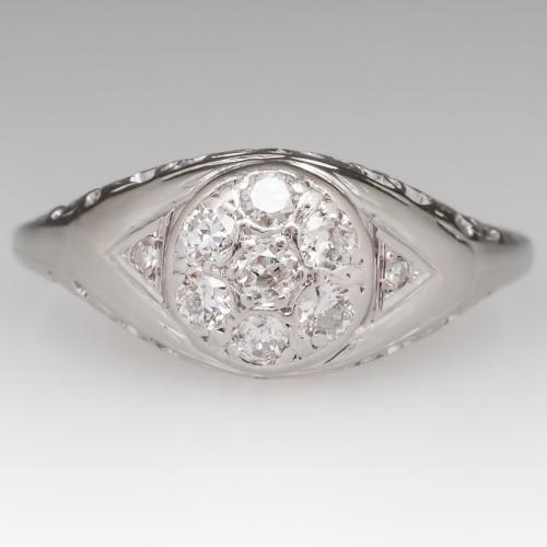 Filigree 1940's Engagement Ring Diamond Cluster 18K