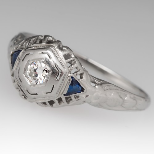 1940's Diamond Filigree 18K White Gold Engagement Ring