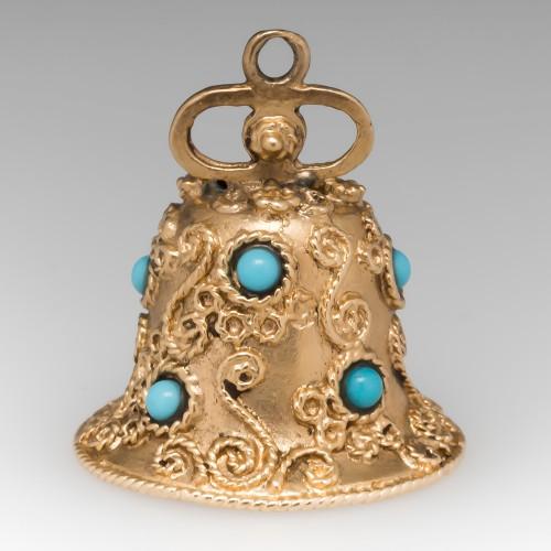 Vintage Italian Turquoise Bracelet Charm Pendant 14K Yellow Gold