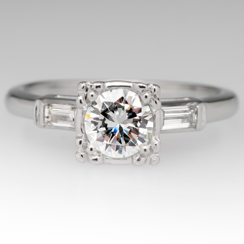Vintage Diamond Engagement Ring w/ Straight Baguettes