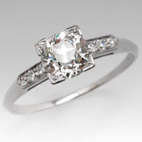 Perfect Art Deco Engagement Ring 1.2 Carat Old Euro Diamond 1920's