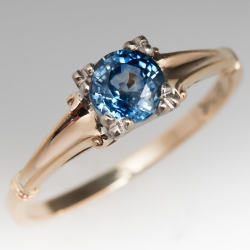 Montana Sapphire Solitaire Engagement Ring 14K Vintage Mounting