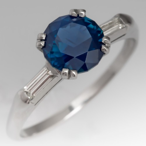 Strong Blue Unheated Round Sapphire Ring w/ Baguette Diamond Accents