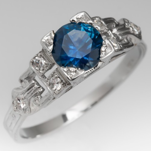 Gorgeous Montana Sapphire Ring in 18K White Gold Art Deco