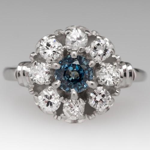 Vintage Montana Sapphire & Diamond Halo Ring Platinum