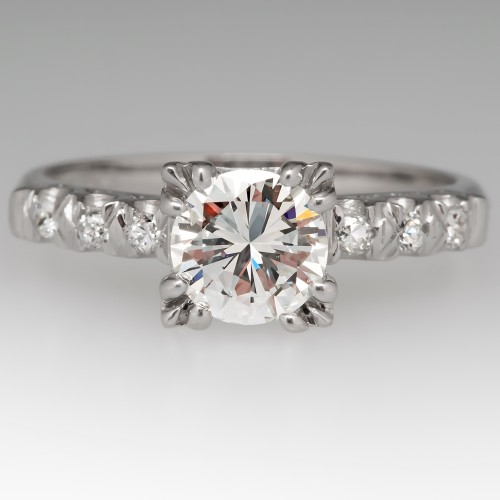 3/4 Carat Diamond Vintage Platinum Engagement Ring