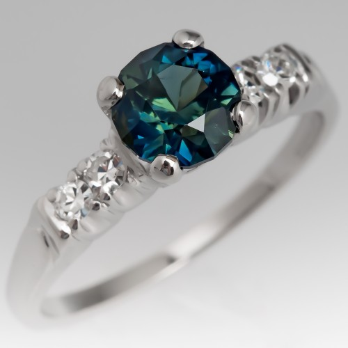 Vivid Blue Green Sapphire Ring 1950's Platinum Diamond Mounting
